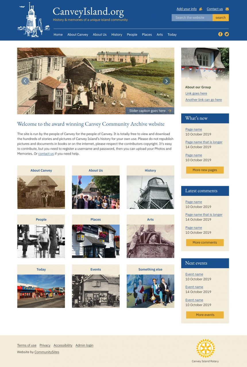 Screenshot of Canvey Island home page