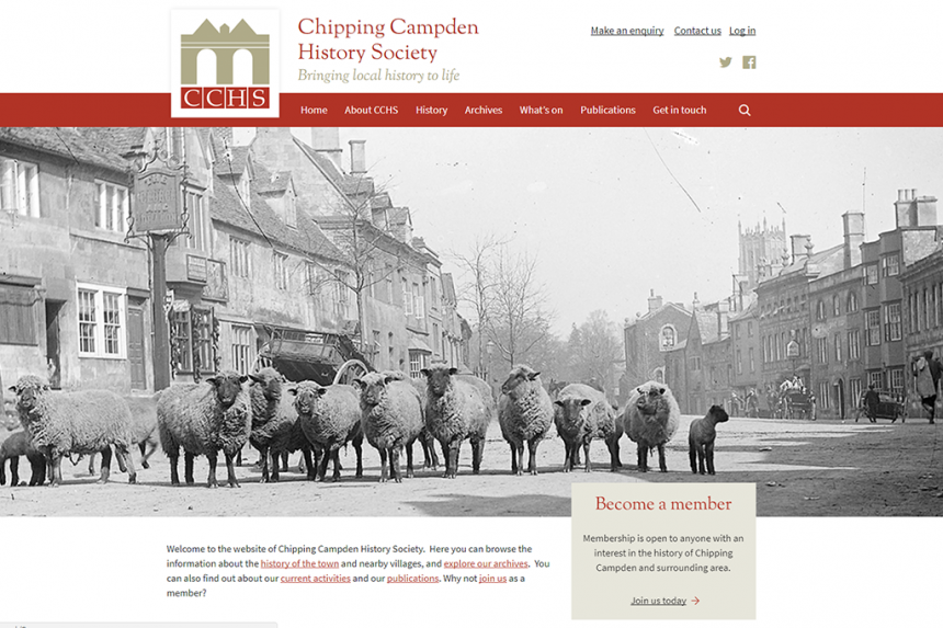 Home page of the Chipping Campden History website
