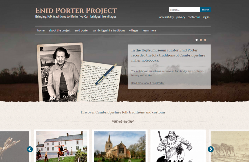 Screenshot of Enid Porter Project home page