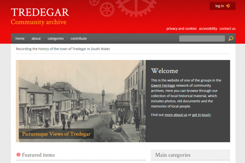 Screenshot of Gwent Heritage home page