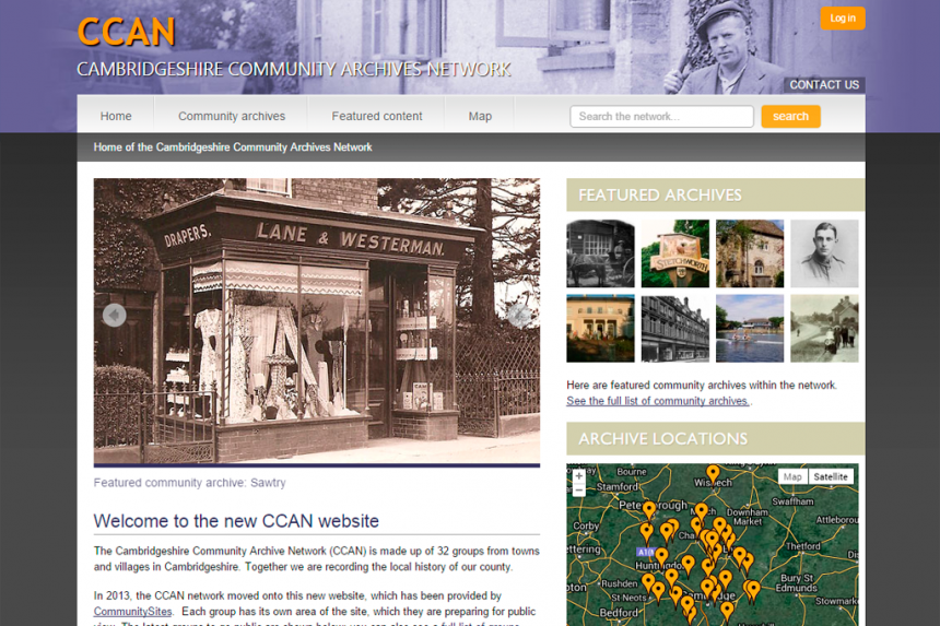 Screenshot of Cambridgeshire Community Archive Network home page