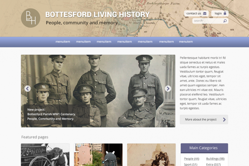 Screenshot of design for Bottesford Living History home page