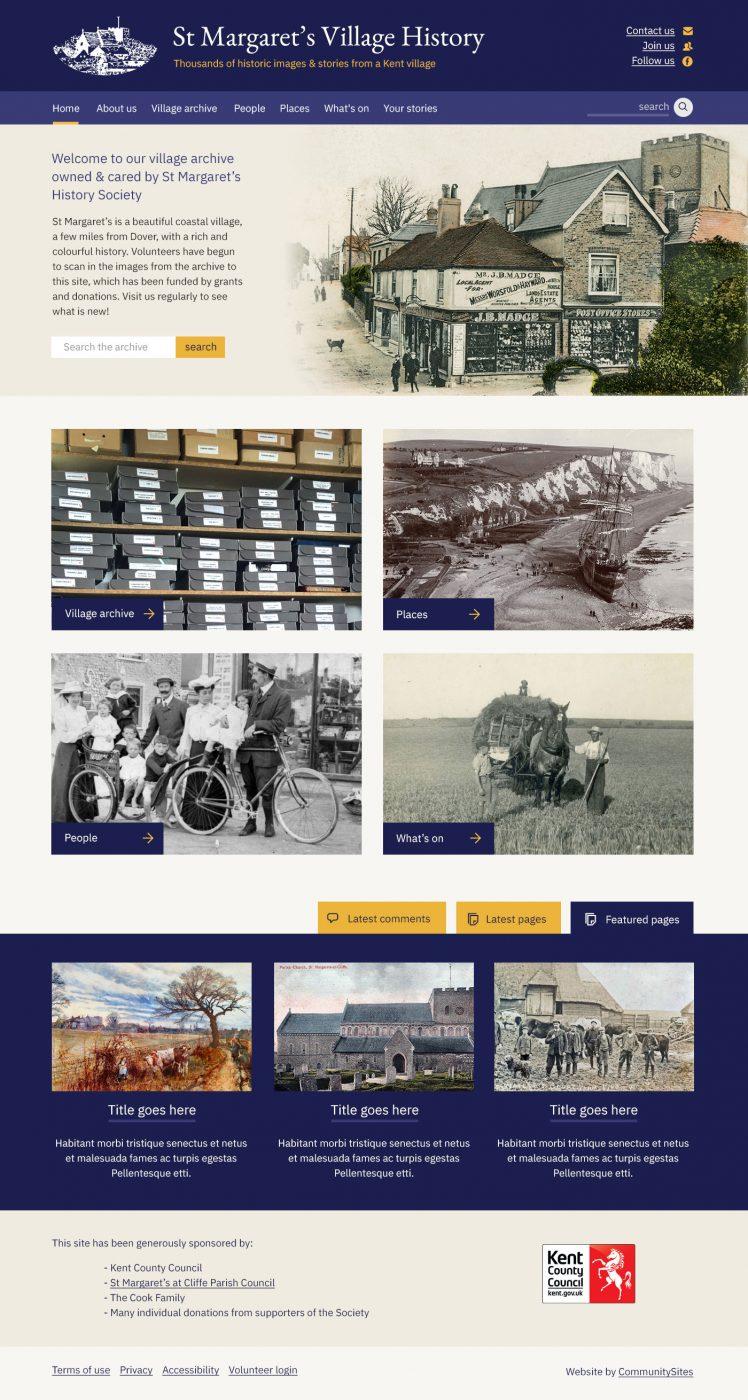 Screenshot of St Margarets History website