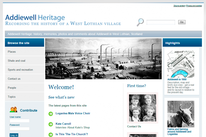 Screenshot of Addiewell Heritage home page