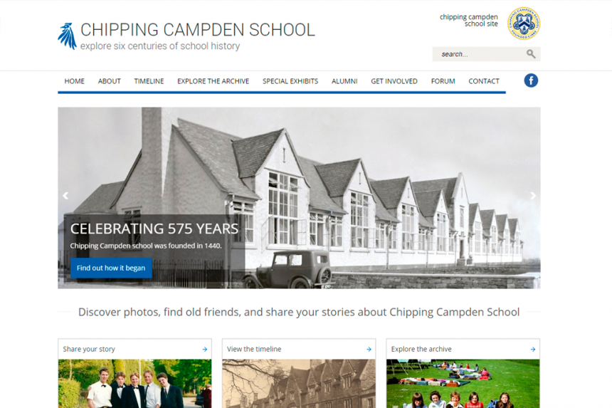 Screenshot of Chipping Campden School home page