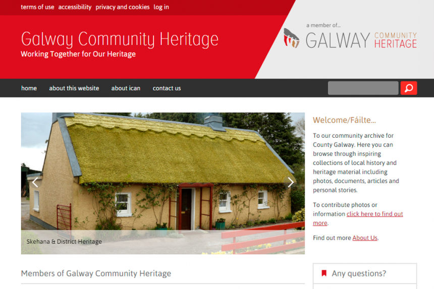 Screenshot of Galway Heritage home page