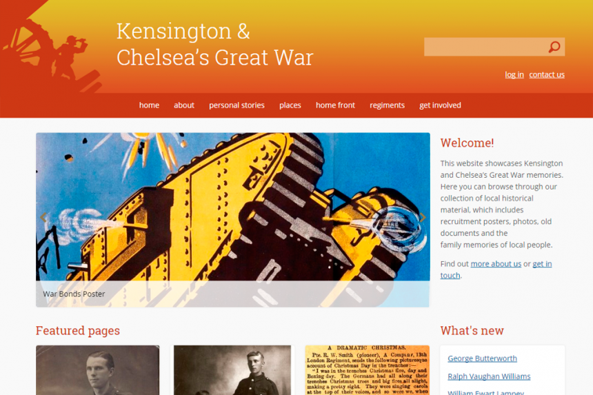 Screenshot for Kensington and Chelsea's Great War home page