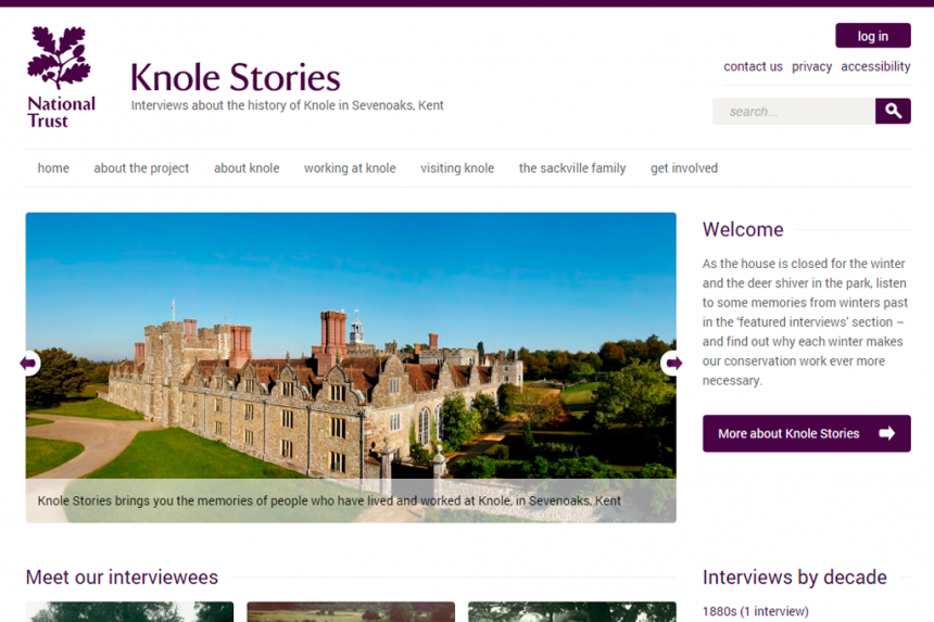 Screenshot of Knole Stories home page