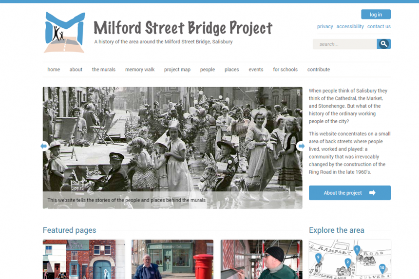 Screenshot of Milford Street Bridge project home page