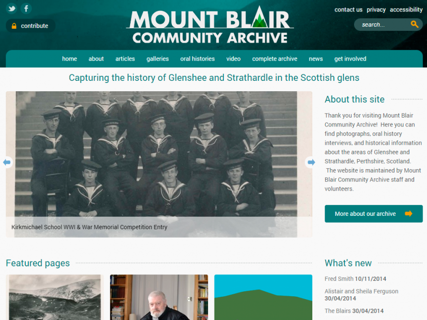 Screenshot of Mount Blair Community Archive home page