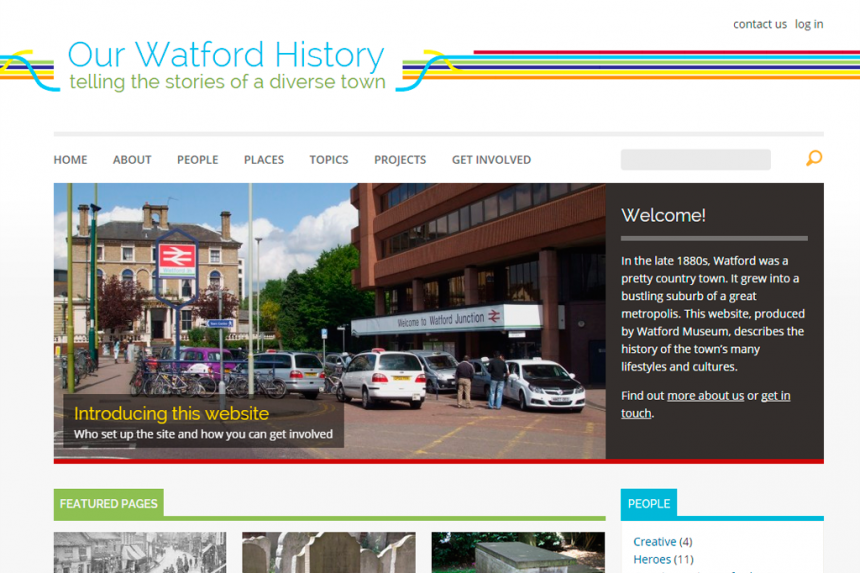 Screenshot of Our Watford History home page