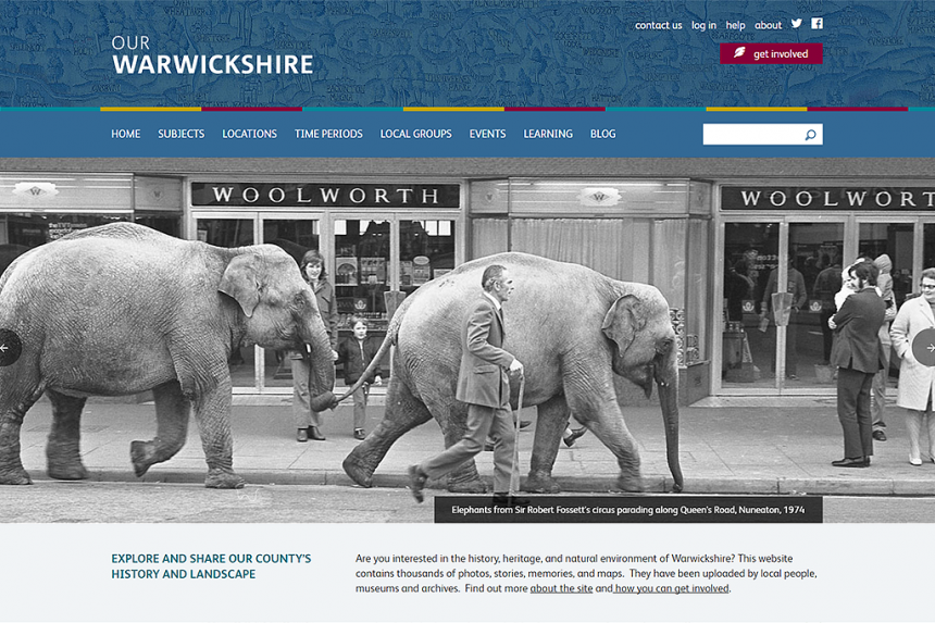 Screenshot of Our Warwickshire home page