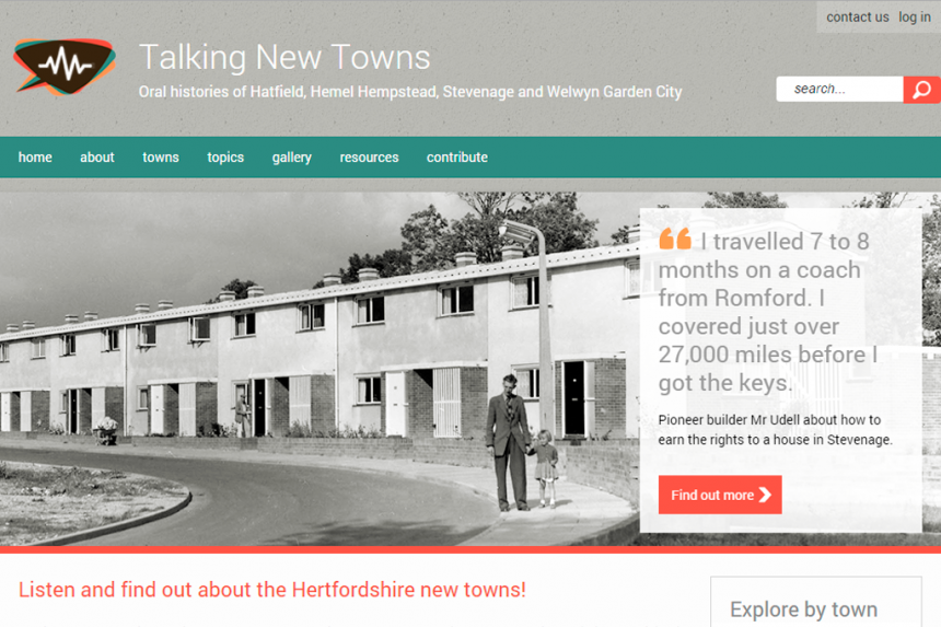 Screenshot of Talking New Towns home page