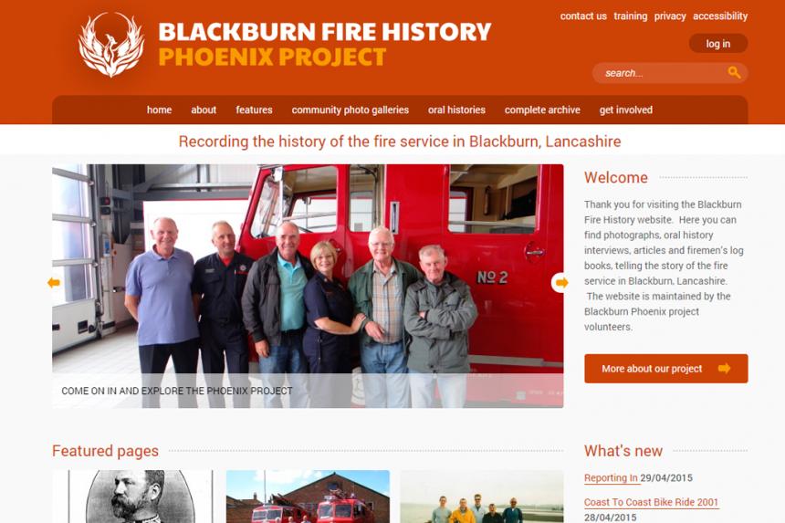 Screenshot of Blackburn Fire History homepage