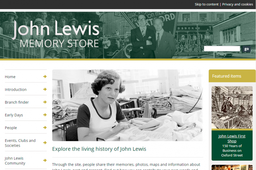 Screenshot of John Lewis Memory Store home page