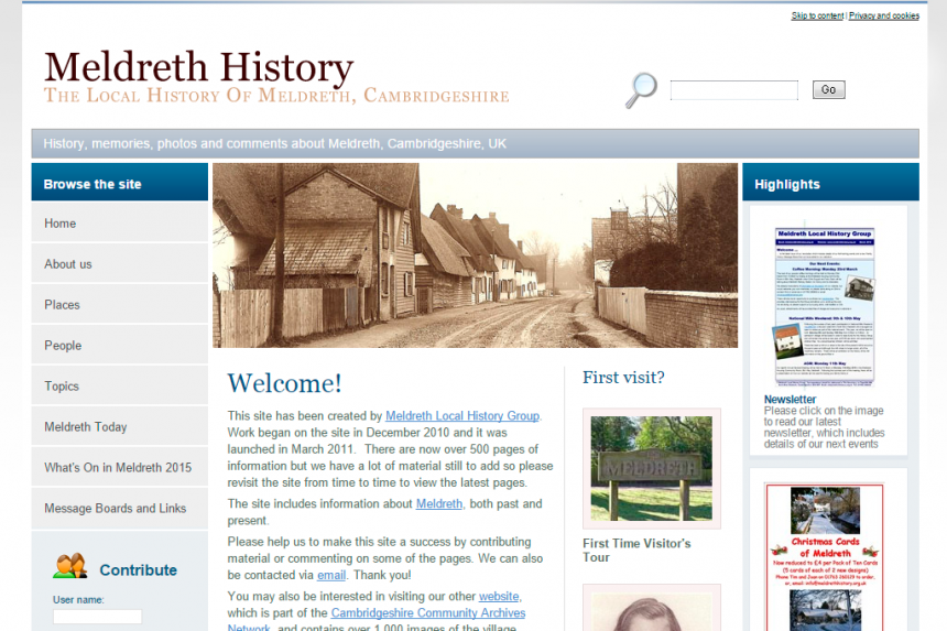 Screenshot for Meldreth History website
