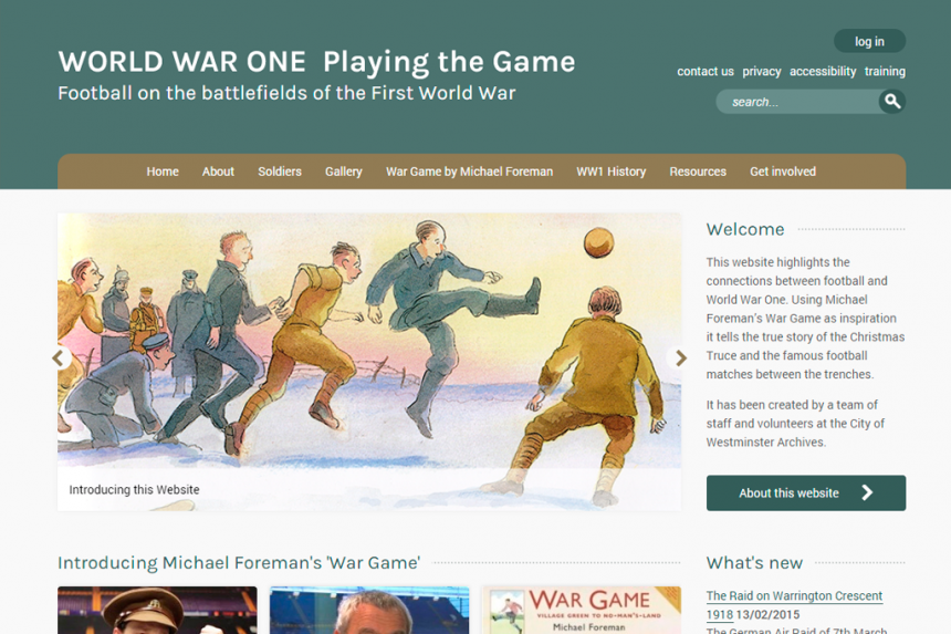 Screenshot of the World War One - Playing the Game home page