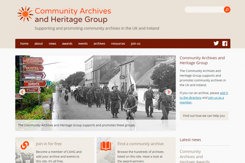 Screenshot of Community Archives home page