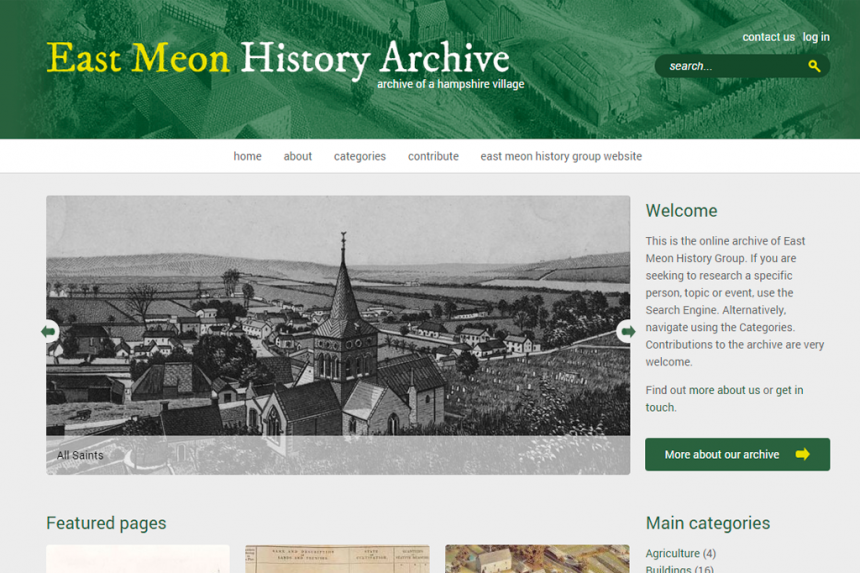 Screnshot of the East Meon History Archive homepage