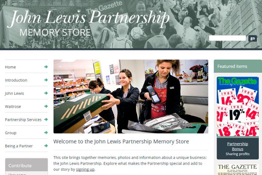 Screenshot of the John Lewis Partnership Memorystore home page