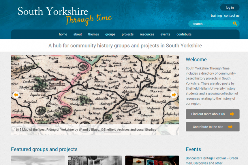 Screenshot for South Yorkshire Through Time home page