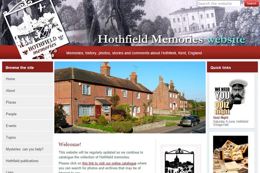 Screenshot for Hothfield Memories website
