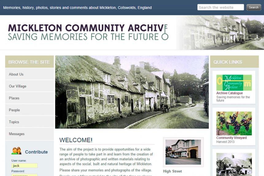 Screenshot for Mickleton Community Archive website