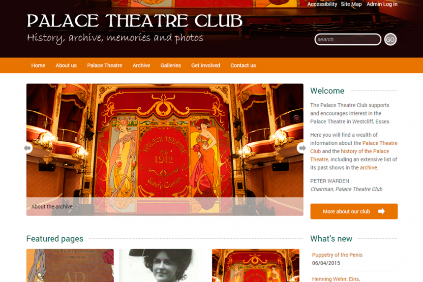 Screenshot for Palace Theatre Club website
