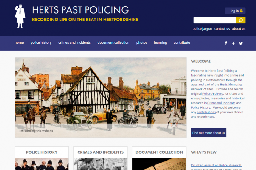 Screenshot of Herts Past Policing home page