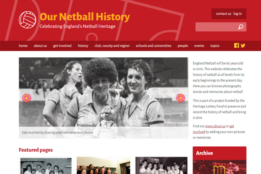 Screenshot of the Our Netball History homepage
