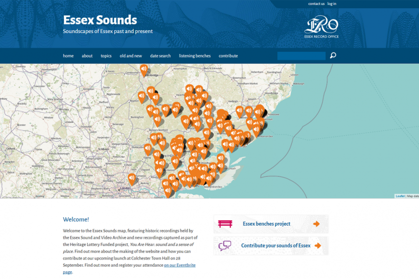 Screenshot of the Essex Sounds homepage
