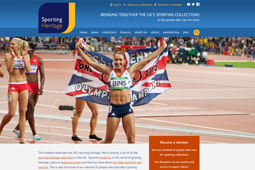 Screenshot of Sporting Heritage home page